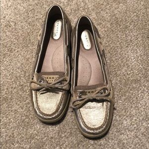 Sperry's gold shoes